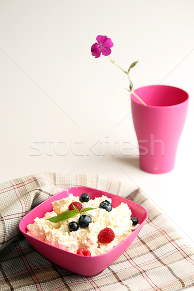 Cottage cheese in pink plastic bowl decorated mint and berry.  Stock photo © user_11056481