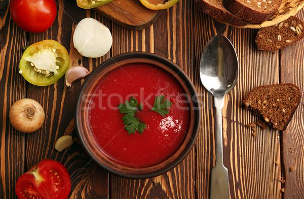 Stock fotó: Tál · paradicsomleves · fa · asztal · hozzávalók · főzés · csoport