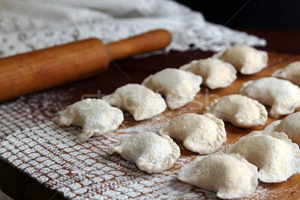 Homemade pierogi vareniki - filled dumpling, traditional East Eu Stock photo © user_11056481