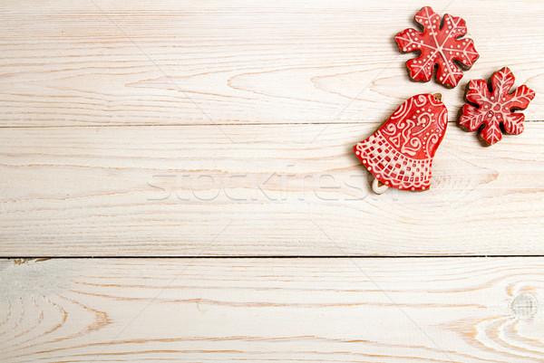 クリスマス 休日 赤 ジンジャーブレッド クッキー ストックフォト © user_11056481