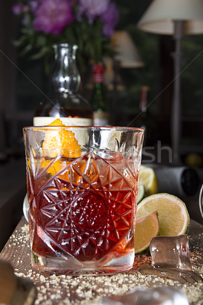 Negroni cocktail on wooden table Stock photo © user_11056481