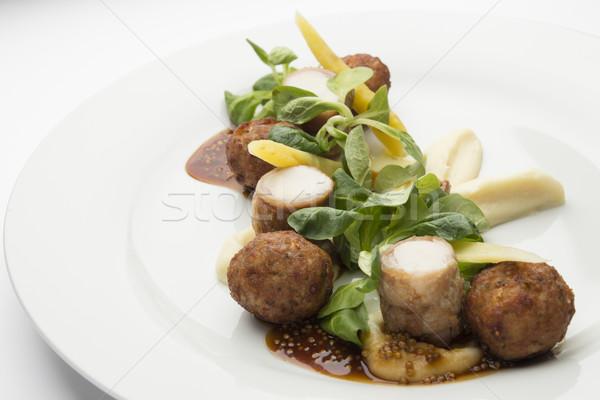 Nyúl húsgombócok mustár mártás tányér hús Stock fotó © user_11056481