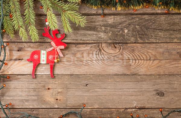 Karácsony díszítések fenyőfa ág elektomos girland Stock fotó © user_11056481