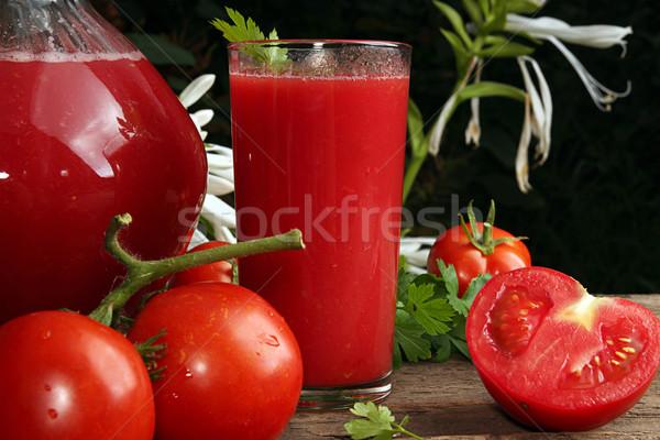 Brocca vetro succo di pomodoro fresche pomodori vecchio Foto d'archivio © user_11056481