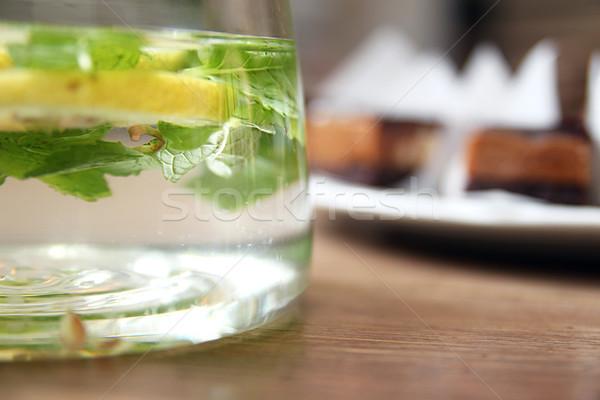 água cítrico de folha fruto vidro Foto stock © user_11056481