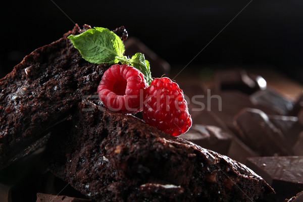 Chocolate brownie decorated raspberry and mint Stock photo © user_11056481