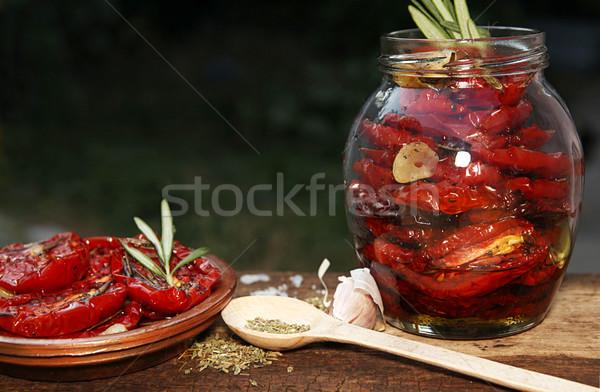 準備 トマト 生 古い 木製のテーブル ストックフォト © user_11056481