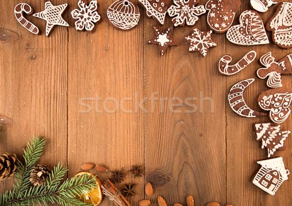 クリスマスツリー 孤立した 白 クリスマス ジンジャーブレッド クッキー ストックフォト © user_11056481
