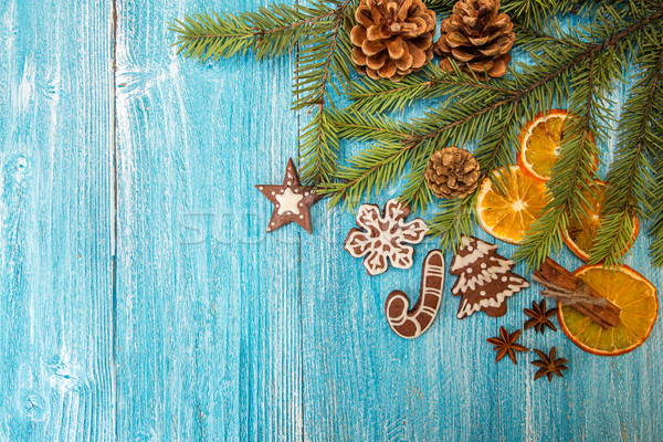 Christmas gingerbread cookies on blue wooden table. Stock photo © user_11056481