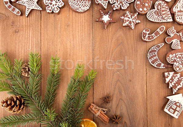 Christmas gingerbread cookies on old wooden table. Stock photo © user_11056481