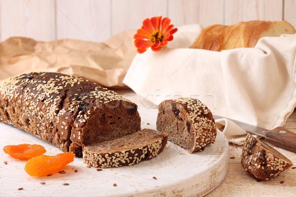 ストックフォト: ローフ · ライ麦 · パン · 酵母 · ごま · スライス