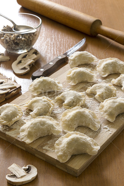 Homemade pierogi with mushrooms and chicken - filled dumpling, t Stock photo © user_11056481