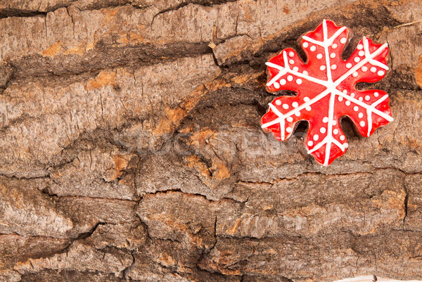 Stock photo: Christmas New Year holiday background. Red gingerbread cookie on