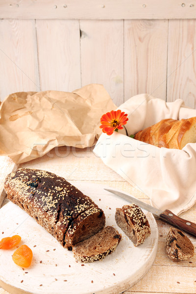 буханка рожь хлеб дрожжи кунжут Ломтики Сток-фото © user_11056481