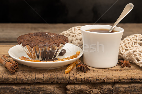Chocolate cake and cup of tea Stock photo © user_11056481
