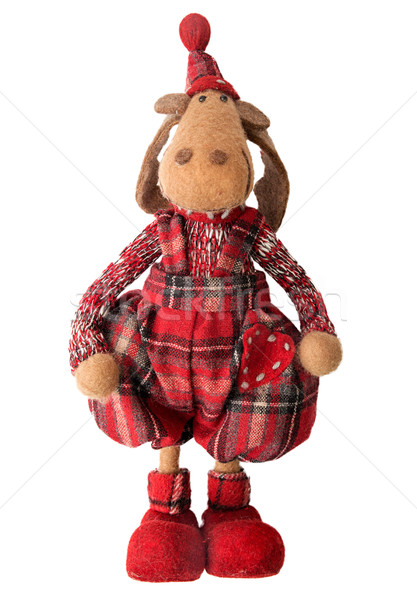 Elk, soft doll, traditional Christmas decoration isolated on whi Stock photo © user_11056481