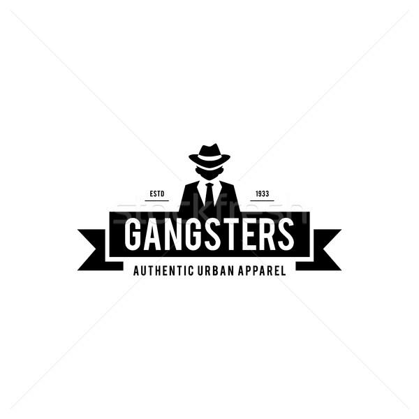 Retro badge gangsters maffia man zwart pak Stockfoto © user_11138126