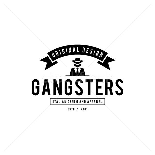 Retro kitűző gengszterek maffia férfi fekete öltöny Stock fotó © user_11138126