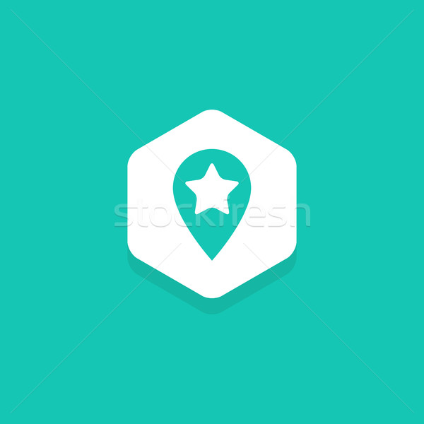 Map Pin with star inside hexagon, flat design icon Stock photo © user_11138126