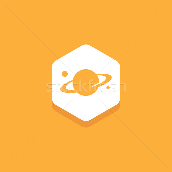 Planet Saturn inside hexagon, flat design icon Stock photo © user_11138126