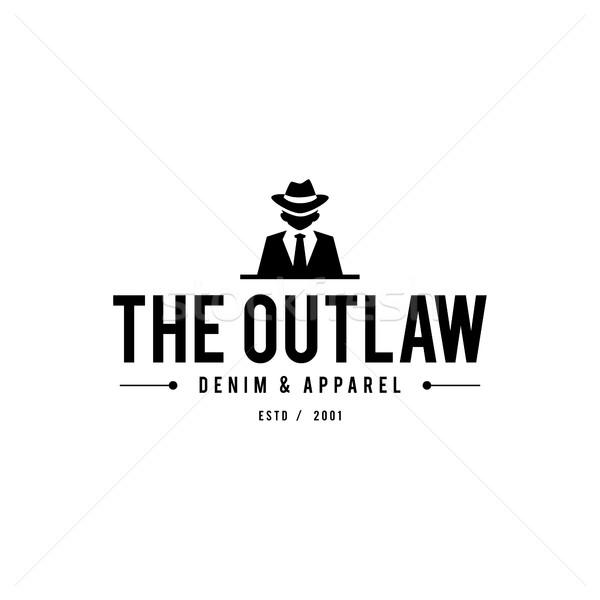 Retro odznakę mafia człowiek czarny garnitur Zdjęcia stock © user_11138126