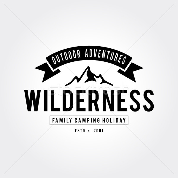 Outdoor wildernis berg avontuur retro embleem Stockfoto © user_11138126