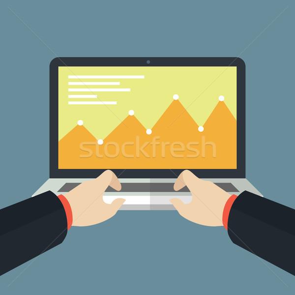 Finance Monitoring Flat Laptop Design Stock photo © user_11138126