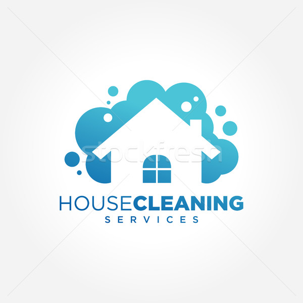 Cleaning Service Business logo design, Eco Friendly Concept for Home and Building Stock fotó © user_11138126