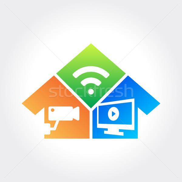 Otthon biztonság technológia cctv ellenőrzés tűz Stock fotó © user_11138126