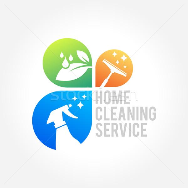 Temizlik hizmet iş logo dizayn çevre dostu ev Stok fotoğraf © user_11138126