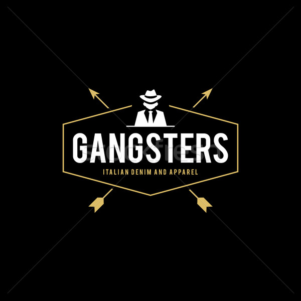 Retro badge gangsters maffia man zwart pak Stockfoto © user_11138126