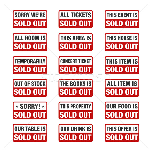 Sold Out sign set, vector illustration Stock photo © user_11138126