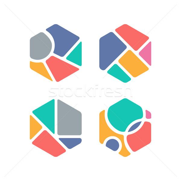 аннотация красочный шестиугольник дизайна Сток-фото © user_11138126