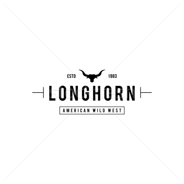ヴィンテージ ラベル シルエット 牛 頭 テキサス州 ストックフォト © user_11138126