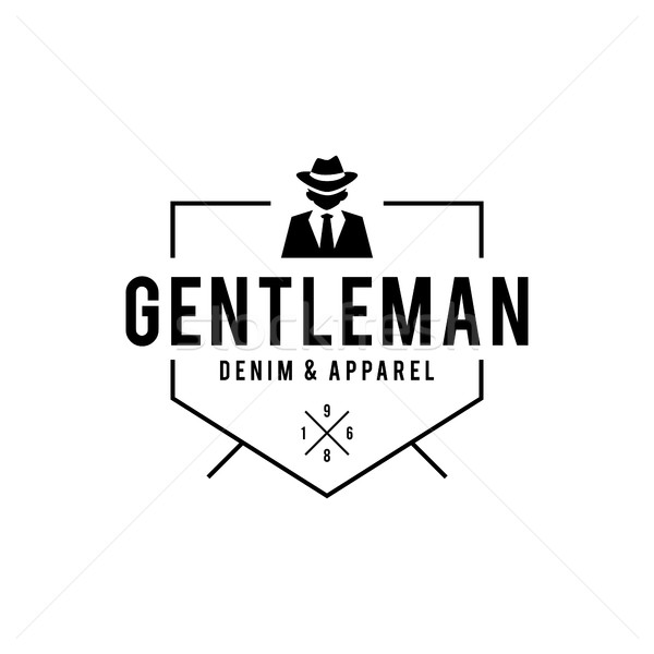 Retro badge Gangsters and Mafia. Man in black suit. Vector illustration Stock photo © user_11138126