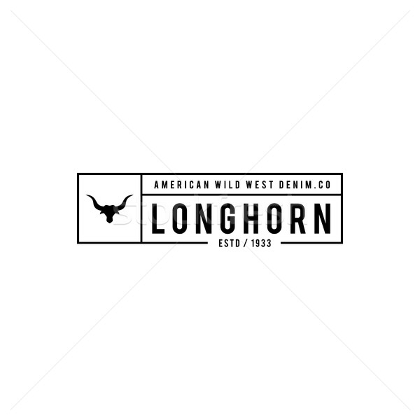 Vintage label with silhouette of bull head. Texas Wild West Theme. Vector illustration Stock photo © user_11138126