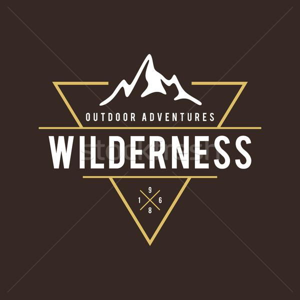 Szabadtér vadon hegy kaland retro embléma Stock fotó © user_11138126