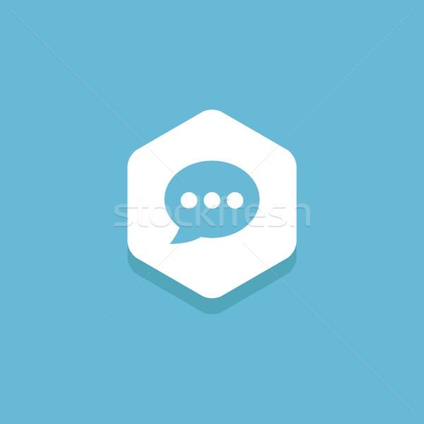 Chat buborék bent hatszög terv ikon elképesztő Stock fotó © user_11138126