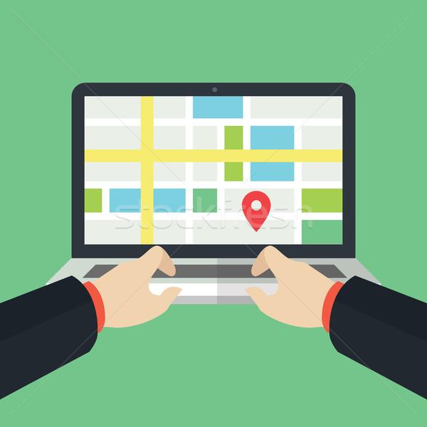 Geo Location Flat Laptop Design Stock photo © user_11138126