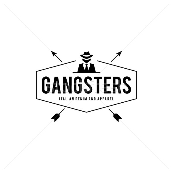 Rétro badge gangsters mafia homme costume noir Photo stock © user_11138126