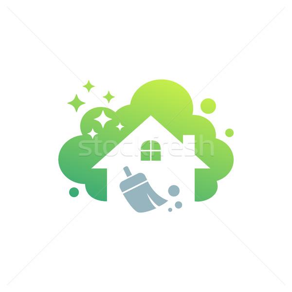 Takarítás szolgáltatás üzleti logo terv környezetbarát otthon Stock fotó © user_11138126