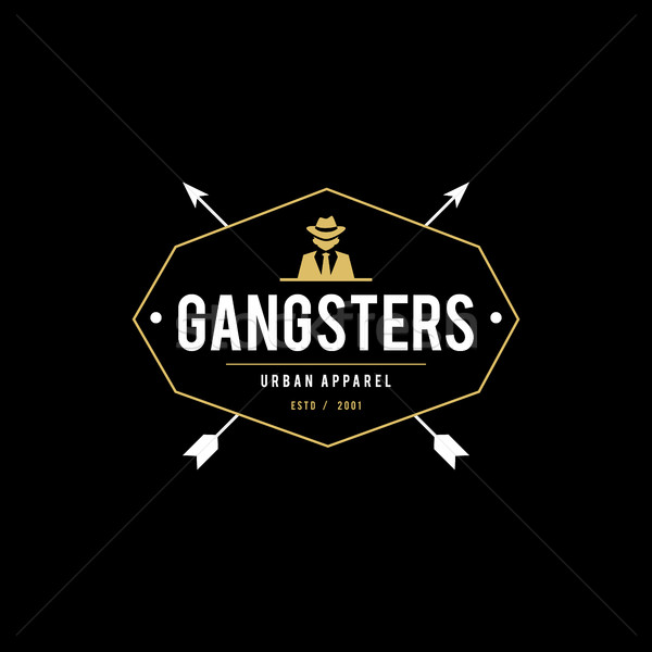 Retro placa gangsters mafia hombre traje negro Foto stock © user_11138126