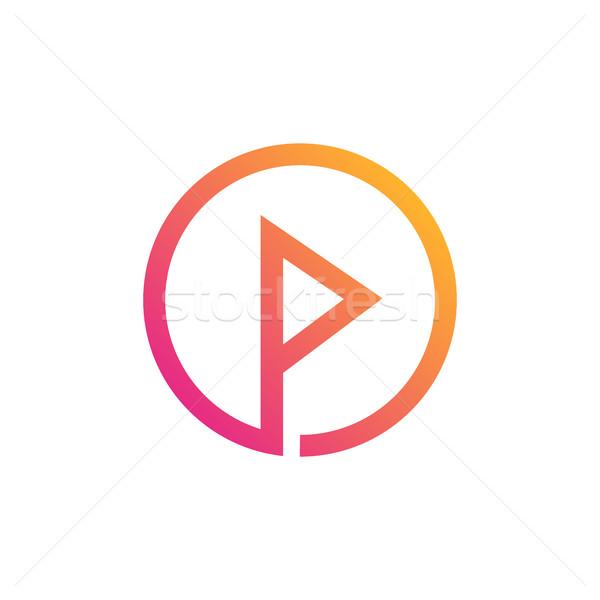 Letter P Inside Circle Symbol Creative Alphabet Icon Design Vector