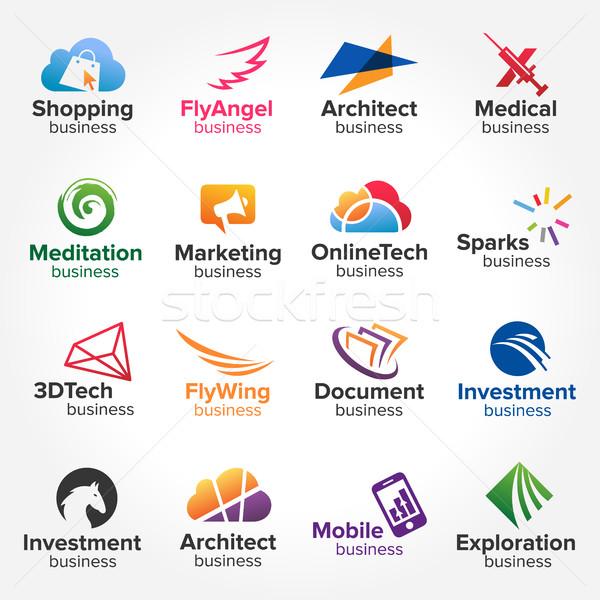 Działalności technologii logo streszczenie geometryczny Zdjęcia stock © user_11138126