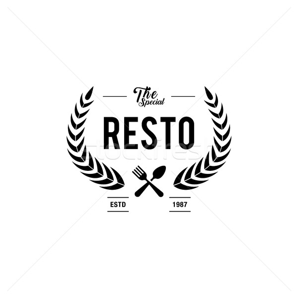 Restaurant Logos, Badges and Labels Design Elements set. Food and Beverage vintage style objects Stock photo © user_11138126