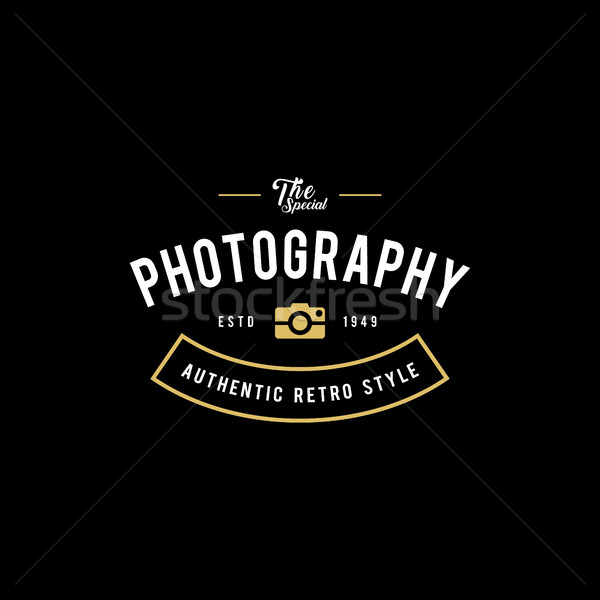 Photography Logos, Badges and Labels Design Elements set. Photo camera vintage style objects, retro  Stock photo © user_11138126