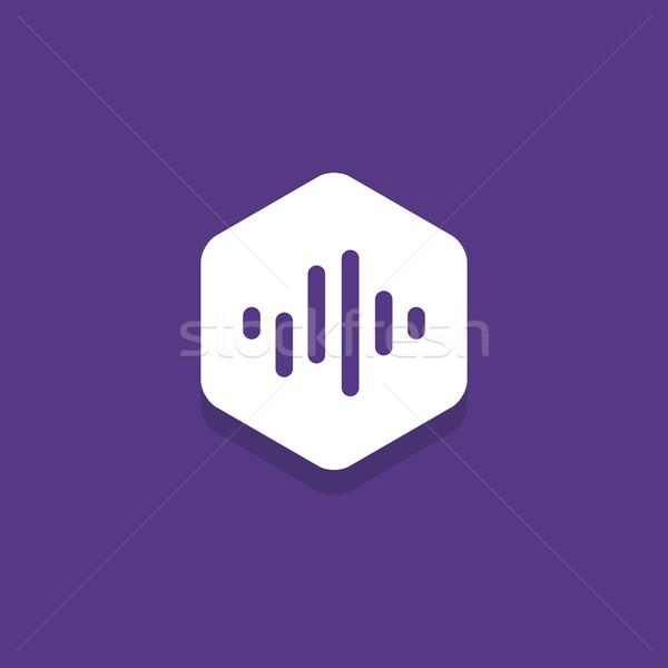 Áudio onda dentro hexágono projeto ícone Foto stock © user_11138126