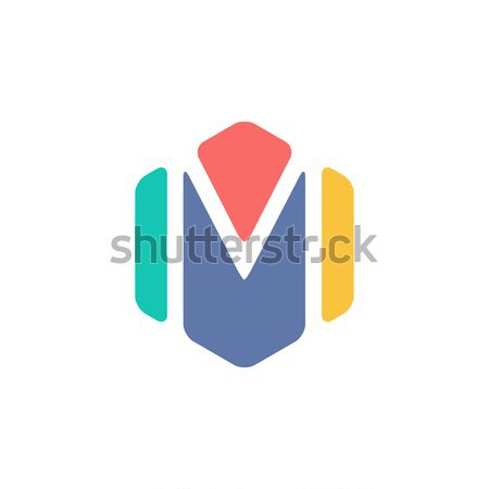 буква М внутри красочный шестиугольник форма аннотация Сток-фото © user_11138126