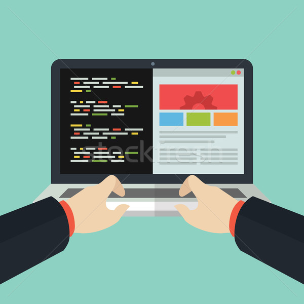 Website Development Coding Flat Laptop Design Stock photo © user_11138126