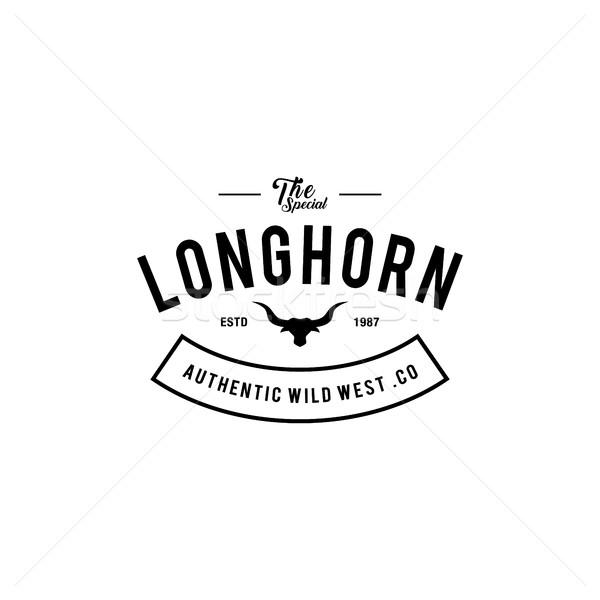 Vintage etichetta silhouette toro testa Texas Foto d'archivio © user_11138126